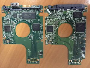 Original USB PCB on the left, donor SATA PCB on the right.