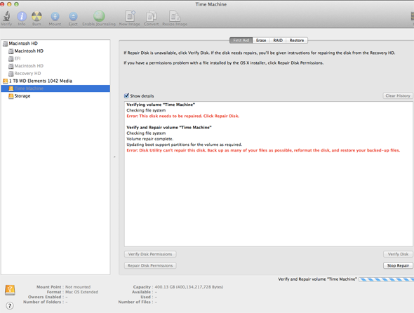 mac drive not mounted